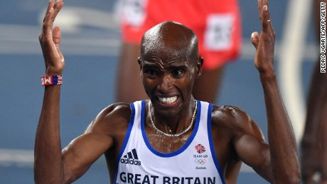 Britain's Mo Farah reacts after winning the men's 5,000m final.