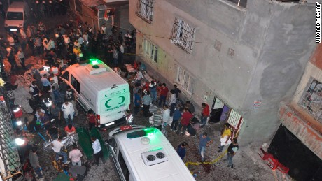 Ambulances at the scene of a bomb blast at a wedding party in Gaziantep.