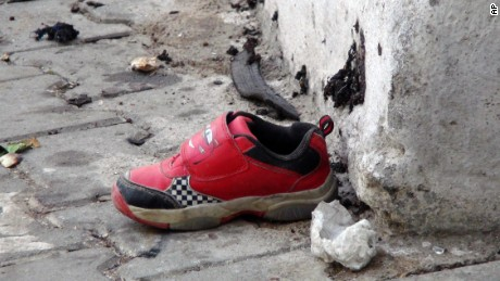 The shoe of a young victim of the bomb attack in Gaziantep.