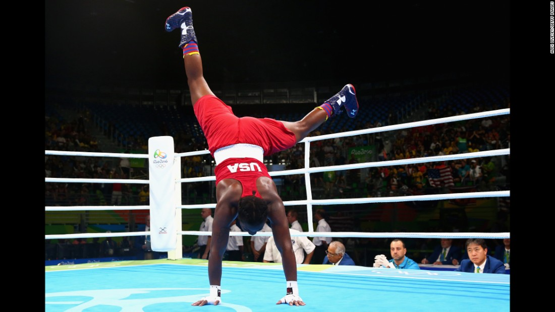 Claressa Shields of the United States celebrates her victory over the Netherlands' Nouchka Fontijn in the middleweight 75-kilogram (165-pound) final boxing bout. Shields is the first U.S. boxer to win back-to-back Olympic gold medals.
