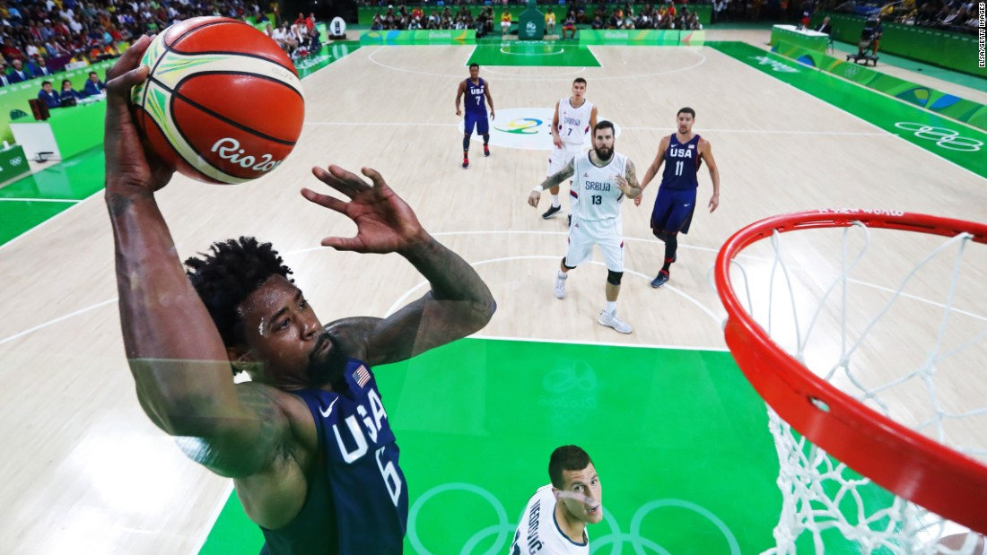 U.S. basketball player DeAndre Jordan goes for the hoop during the final game against Serbia.
