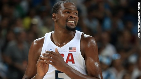 Kevin Durant led the scoring for the United States in Sunday's basketball gold medal match.