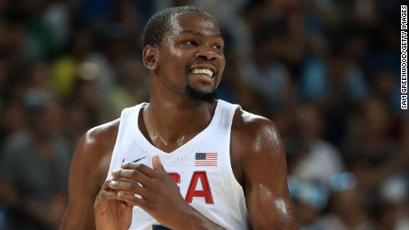 Kevin Durant led the scoring for the United States in its 96-66 win over Serbia in the basketball gold medal match.