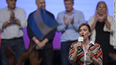 "Gabriela Michetti, the running mate of the Head of Government of the Autonomous City of Buenos Aires and candidate for the Cambiemos (Let's Change) party, Mauricio Macri, speaks at the Cambiemos (Let's Change) party headquarters in Buenos Aires on November 22, 2015, after getting the results of the presidential run-off election in Argentina. Argentina's conservative president-elect Mauricio Macri promised a ""marvelous"" new era was starting for the country after he won a runoff election on Sunday. AFP PHOTO/ JUAN MABROMATA        (Photo credit should read JUAN MABROMATA/AFP/Getty Images)"
