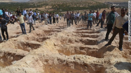 Graves freshly dug for the victims of the Gaziantep blast.