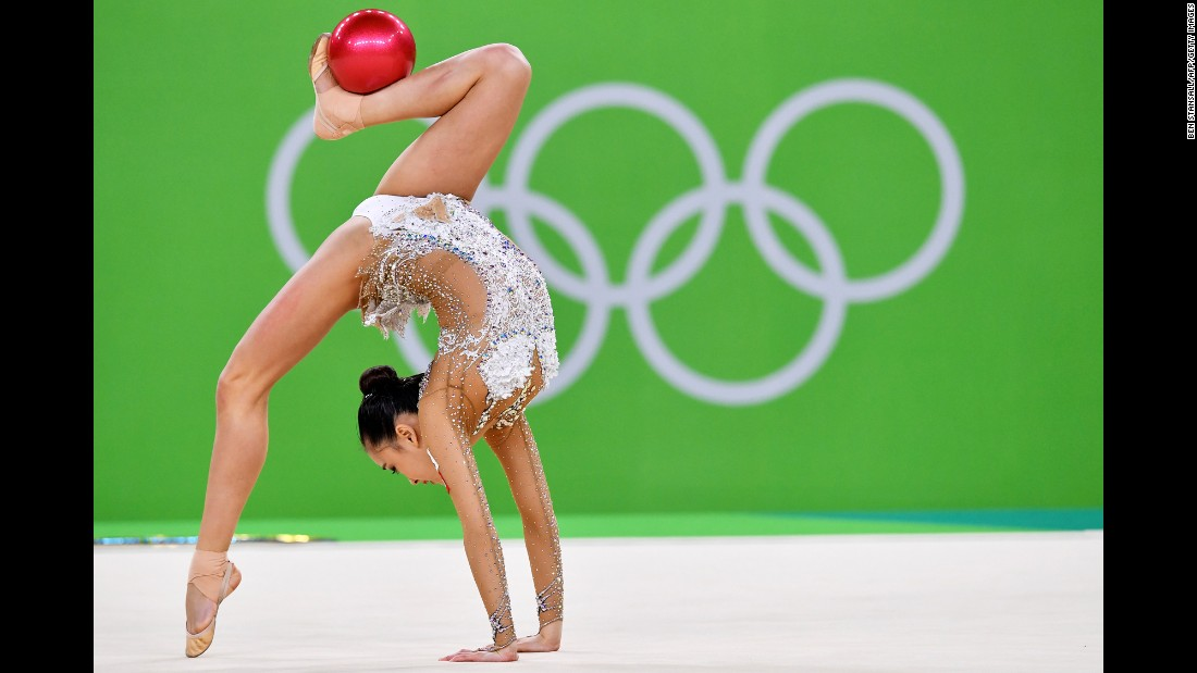 Son Yeon-jae, a rhythmic gymnast from South Korea, competes in the individual all-around on Friday, August 19.