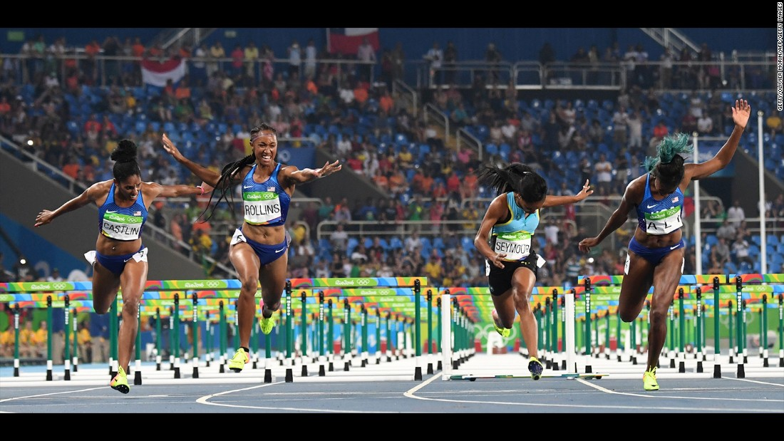 American Brianna Rollins crosses the finish line first in the 100-meter hurdles on Wednesday, August 17.