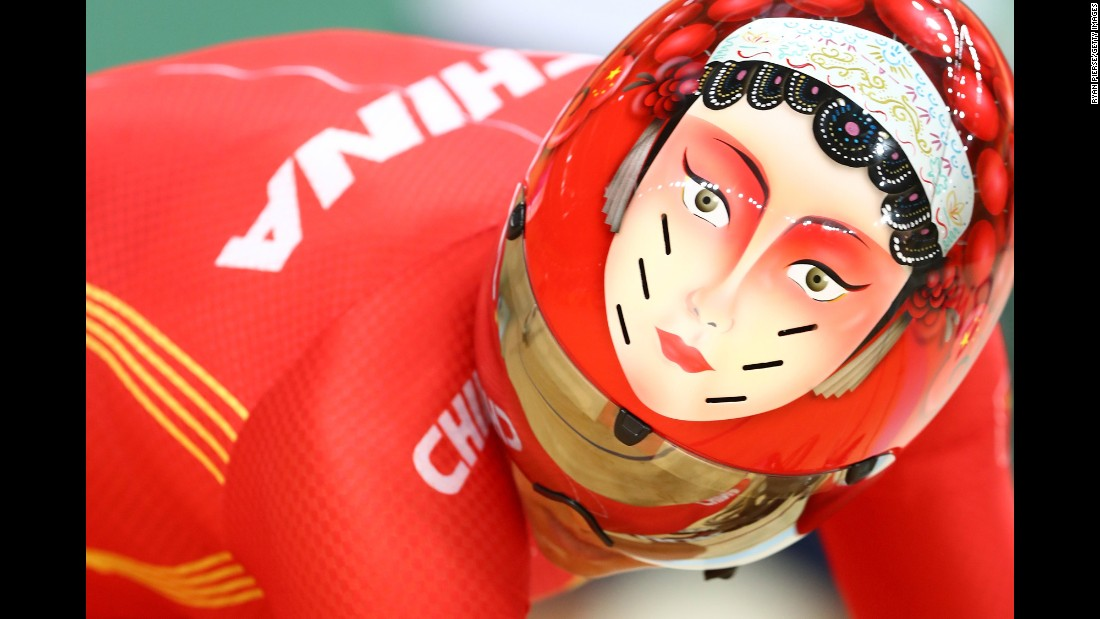 Chinese cyclist Zhong Tianshi competes in a sprint quarterfinal on Tuesday, August 16.
