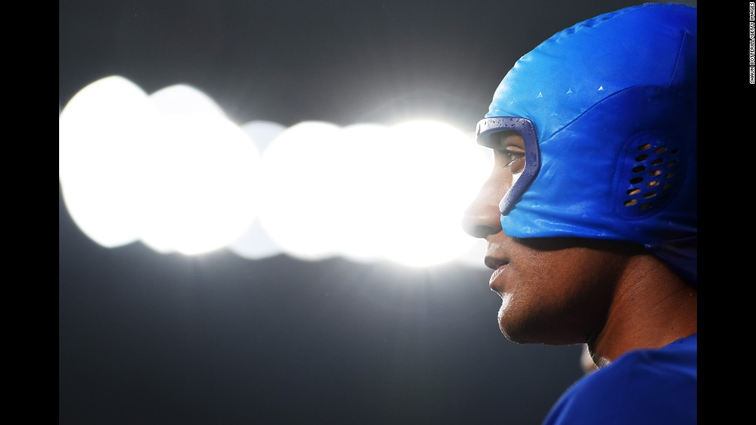 "U.S. decathlete Ashton Eaton wears a cooling cap over his head during the high jump on Wednesday, August 17. Eaton <a href=""http://www.cnn.com/2016/08/18/sport/ashton-eaton-decathlon-rio/"" target=""_blank"">went on to win gold,</a> successfully defending the title he won in 2012."