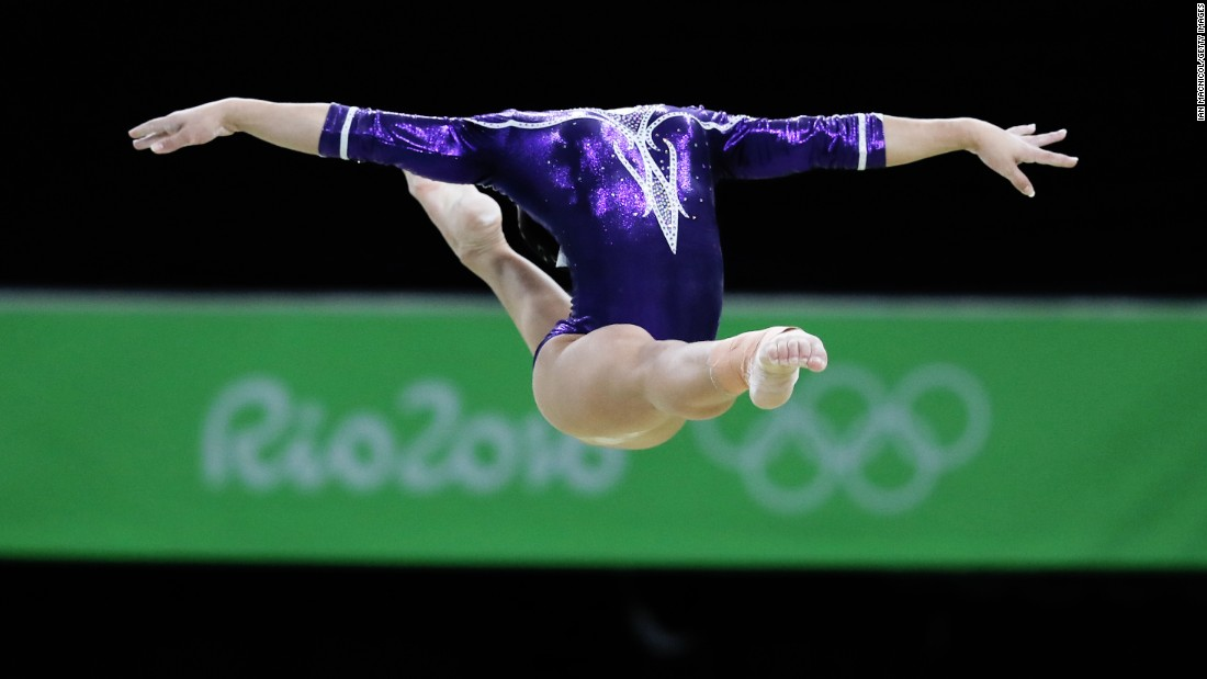 Brazilian gymnast Flavia Saraiva performs on the balance beam on Monday, August 15.