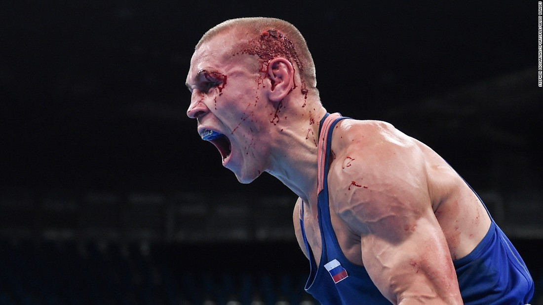Russian boxer Vladimir Nikitin celebrates after his bantamweight victory over Ireland's Michael Conlan on Tuesday, August 16. Nikitin finished the tournament with a bronze medal.