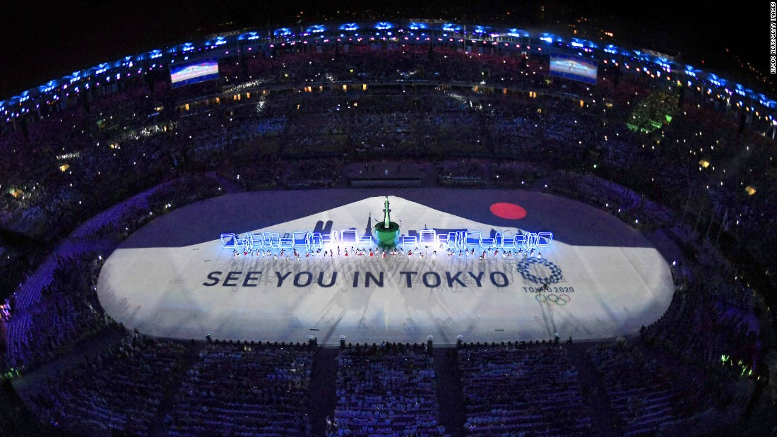 During the closing ceremony on Sunday, August 21, a projection of the rising sun and Mount Fuji teased the 2020 Olympic Games in Tokyo.