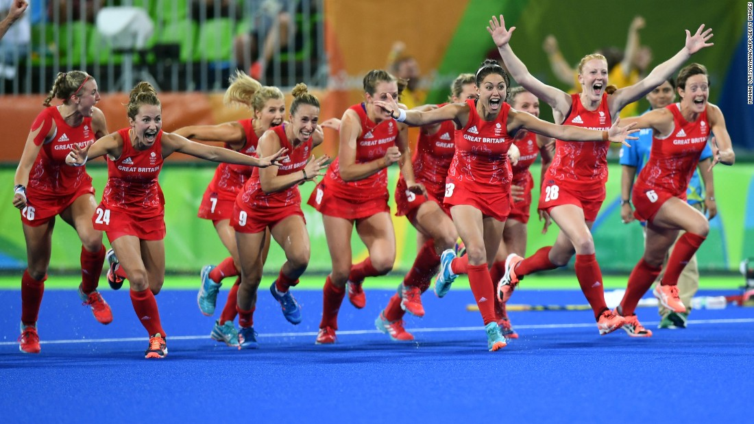 The field hockey team from Great Britain celebrates its penalty shootout win in the final on Friday, August 19.