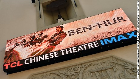 HOLLYWOOD, CA - AUGUST 16:  Billboards and signage are seen during the LA Premiere of the Paramount Pictures and Metro-Goldwyn-Mayer Pictures title Ben-Hur, at the TCL Chinese Theatre IMAX on August 16, 2016 in Hollywood, California.  (Photo by Frazer Harrison/Getty Images For Paramount Pictures)