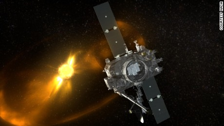 Artist rendition of STEREO spacecraft viewing a CME.