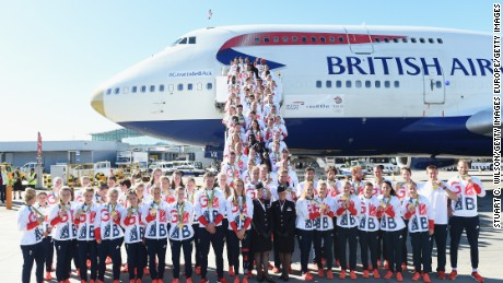 LONDON, ENGLAND - AUGUST 23:  Team GB athletes pose after arriving home at Heathrow Airport on August 23, 2016 in London, England. The 2016 British Olympic Team arrived back to Heathrow on a British Airways flight today having finished second in the medal table at the Rio Olympics. They totalled 67 medals including 27 Gold and 23 Silver in Great Britain's strongest Olympic performance in over a century.  (Photo by Stuart C. Wilson/Getty Images)