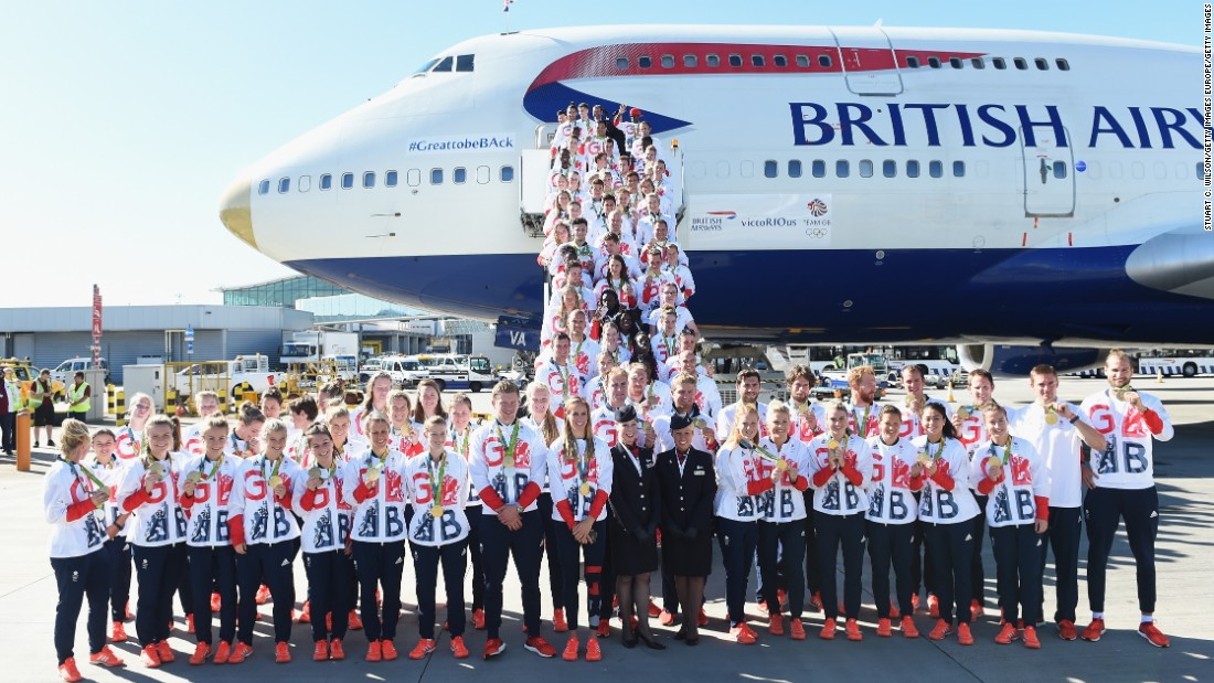 On board were a haul of 92 medals weighing a total of 7.2 stone (46kg) -- 7kg more than gymnast, Amy Tinkler, who took bronze in the individual floor final.  A 6.7- meter sail, pole vaults, javelins, bicycles and laser pistols also made the 11 hour, 15 minute journey from Rio.