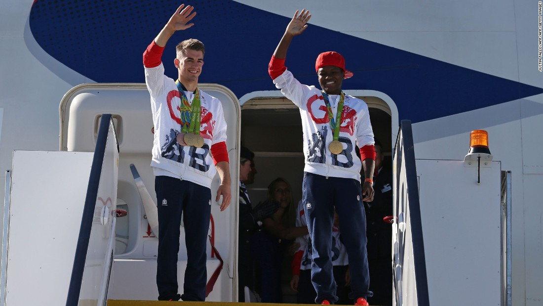 Gold medalists Nicola Adams (flyweight boxing) and gymnast Max Whitlock (pommel horse & floor exercise) were the first to walk off the aircraft to a warm reception.