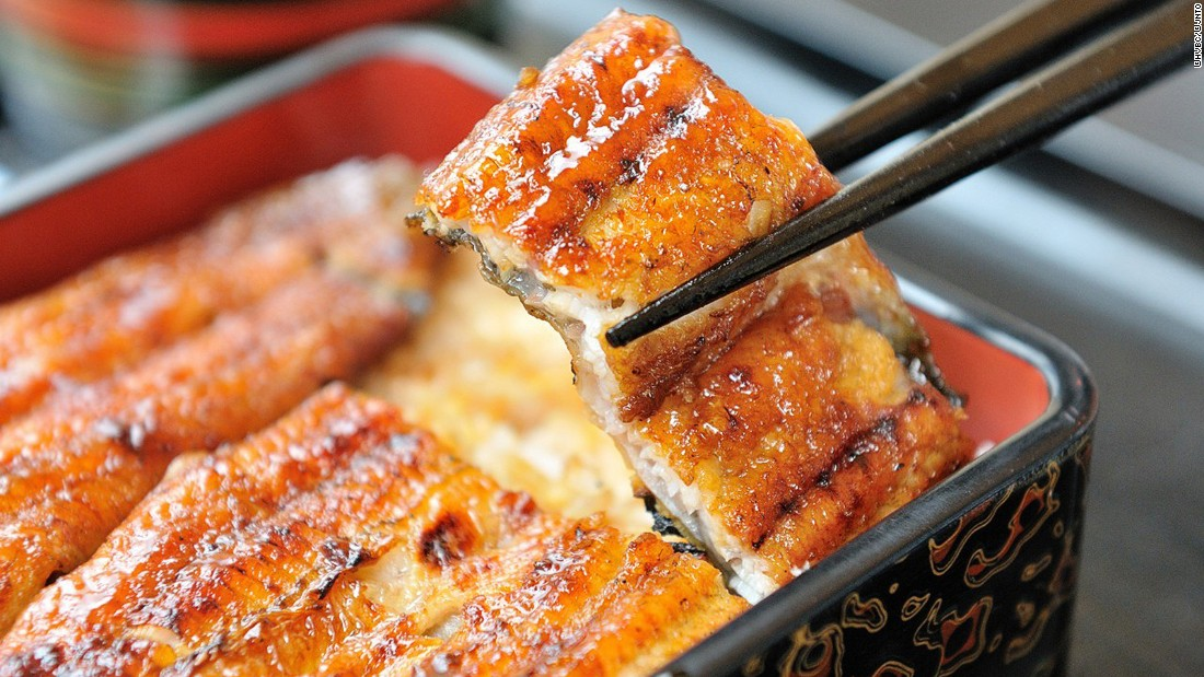 Marinated in a sweet soy-based kabayaki sauce then grilled, unagi (eel) has an intense, smoky-sweet flavour. It's best when eaten with some plain rice.