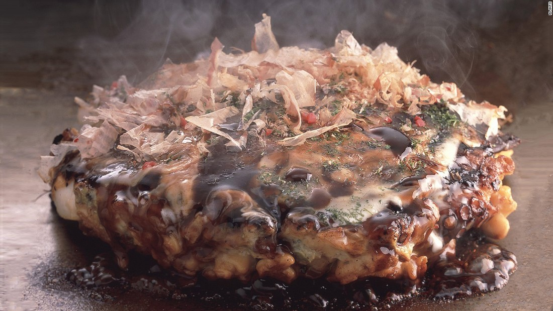 "Translating loosely as ""as you like it,"" okonomiyaki is a savory pancake made with any number of ingredients -- thin slices of pork belly, octopus, shrimp and even cheese."