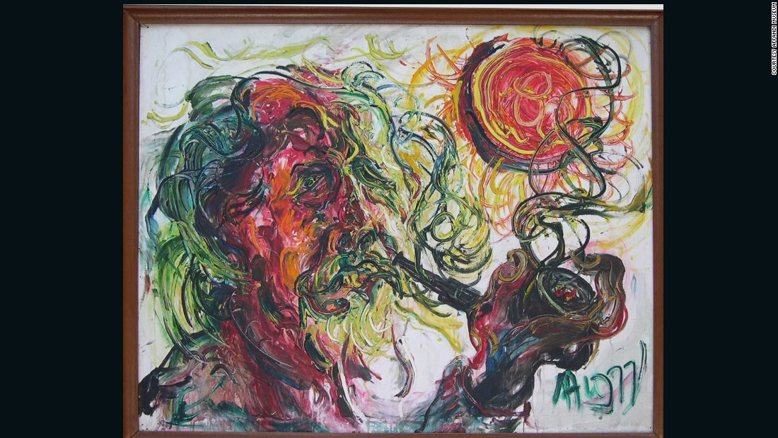 Affandi was also an artist of pure expressionism as his rhythmic brushstrokes show. This self portrait demonstrates a technique he started using in the late 1960s, where he squeezed paint directly onto the canvas.