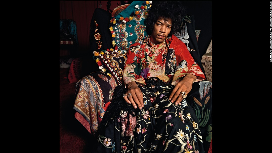 "Rock legend Jimi Hendrix poses for a photo for Sunday Times magazine. Famed photographer Terence Donovan shot this in August 1967, and it's just one of the many iconic images from his latest book, <a href=""https://www.damianieditore.com/en-US/product/579"" target=""_blank"">""Terence Donovan: Portraits.""</a>"
