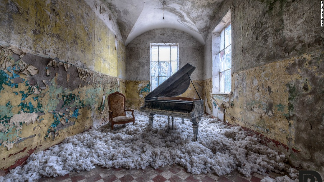 A piano sits in a room at an abandoned sanatorium in Germany. During WWII, injured Germans were treated here -- including Adolf Hitler. It's now being renovated.