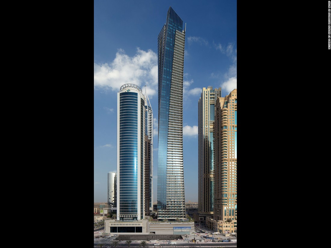 A residential skyscraper in Dubai Marina, Ocean Heights stands 310 meters (1,017 feet) tall and has 83 floors. The tower is the second highest twisting tall building that's been completed and was designed by American architect, Andrew Bromberg from Aedas.