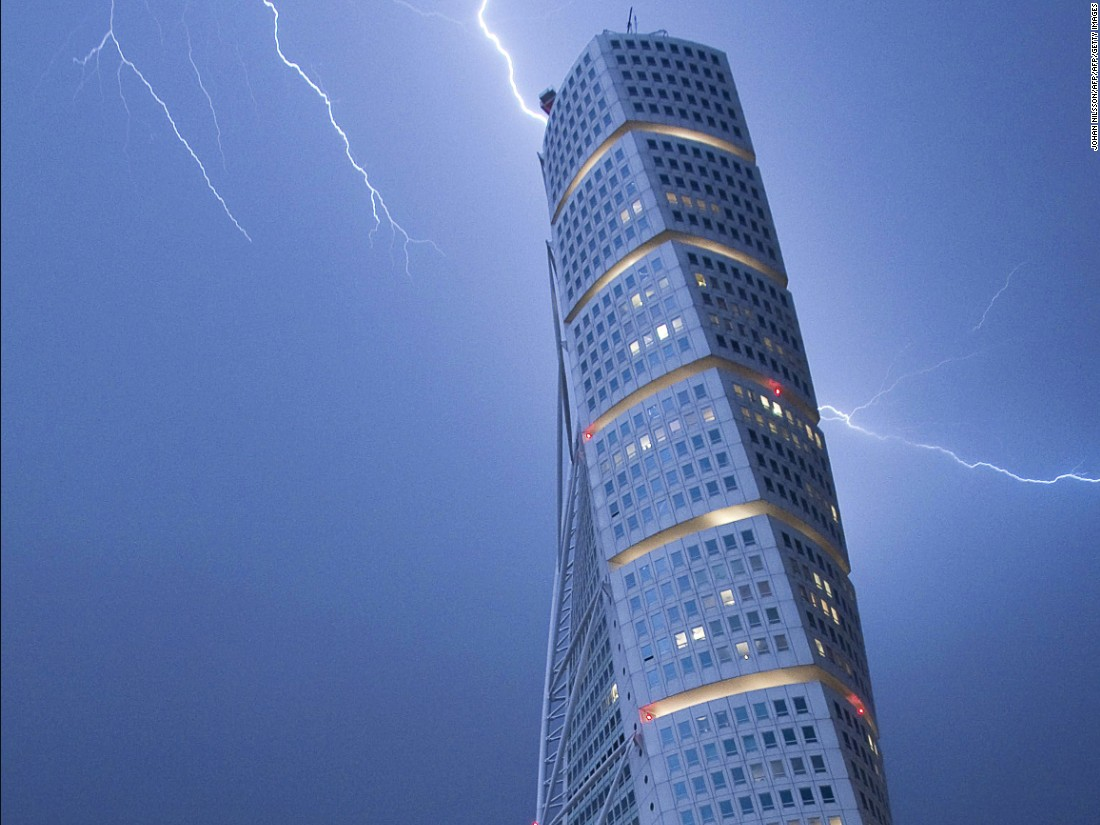 The world's first ever twisted tall building was the 190 meter (623 feet) Turning Torso, which was designed by Spanish architect Santiago Calatrava and completed in 2005.