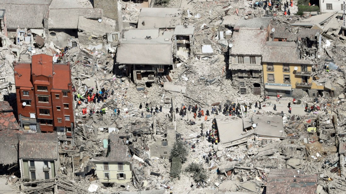 This aerial photo shows damaged buildings in Amatrice. The quake struck at 3:36 a.m and was felt across a broad swath of central Italy.