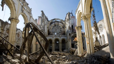 In this undated handout image provided by the United Nations on January 16, the remains of a cathedral are seen in Port-au-Prince, Haiti. Haiti is trying to recover from a powerful 7.0-strong earthquake on January 12 that struck and devastated the country while displacing millions and killing thousands.