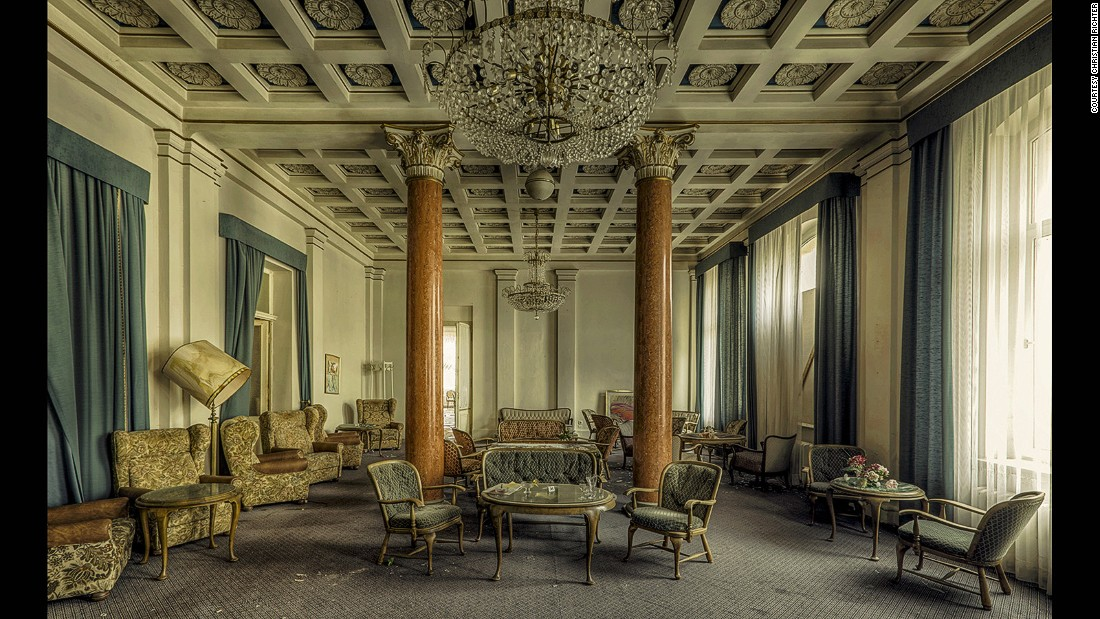 Richter grew up amongst the derelict landscape of the former German Democratic Republic. Inns were popular in East Germany -- all complete with a bar, a ballroom and theater -- but after reunionification with West Germany, people moved and they fell into disuse.