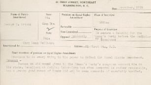 Women record 1920s congressmen's concerns about Equal Rights Amendment