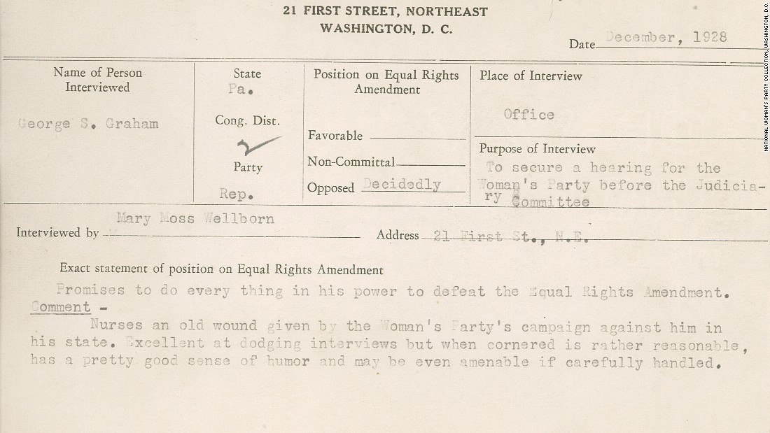 "This 1928 National Woman's Party congressional voting card notes Republican George Graham's opposition to the Equal Rights Amendment. The interviewer writes that, despite opposition, he ""may be even amenable if carefully handled."""