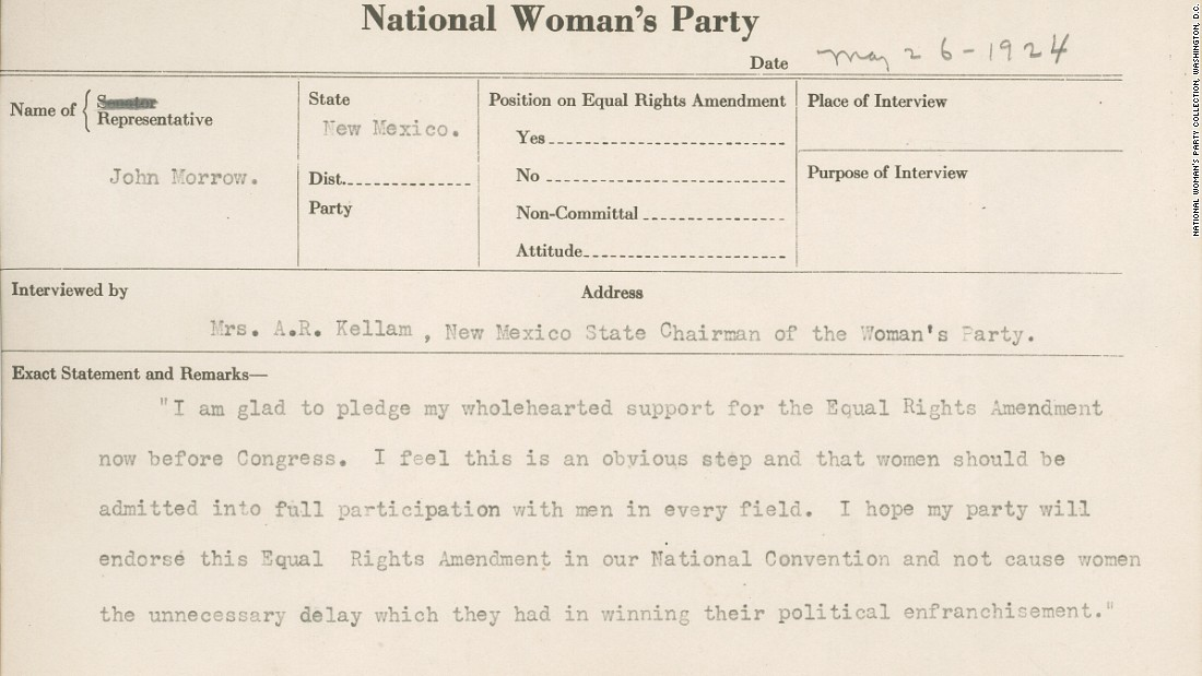 "This 1924 National Woman's Party congressional voting card notes Rep. John Morrow's support for the Equal Rights Amendment. ""I feel this is an obvious step and that women should be admitted into full participation with men in every field,"" he says."
