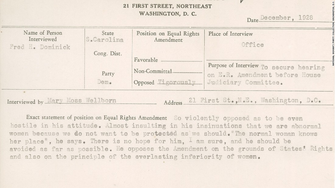 "This 1928 National Woman's Party congressional voting card on a meeting with South Carolina Democrat Fred Dominick notes he opposes the Equal Rights Amendment, saying, ""The normal woman knows her place."""