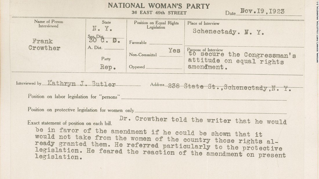 This 1923 National Woman's Party congressional voting card outlines a meeting with Republican Frank Crowther of New York. Crowther says he would support the Equal Rights Amendment if it didn't interfere with rights already granted to women, particularly regarding protective labor legislation.