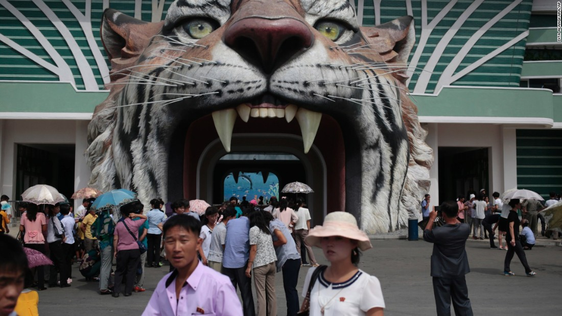 Visitors wait at the gate of the newly opened Pyongyang Central Zoo in the North Korean capital.