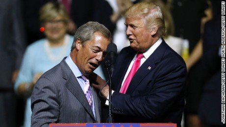 Former UKIP leader Nigel Farage supports then-candidate Donald Trump at a campaign rally in Jackson, Mississippi, last August.