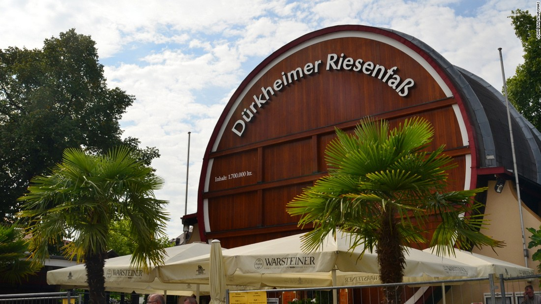 Food plays an important part of the festival. One of the best places to sample local cuisine is a giant wine barrel, the Durkheimer Riesenfass, that was originally made to hold 450,000 gallons of wine but now houses a restaurant.