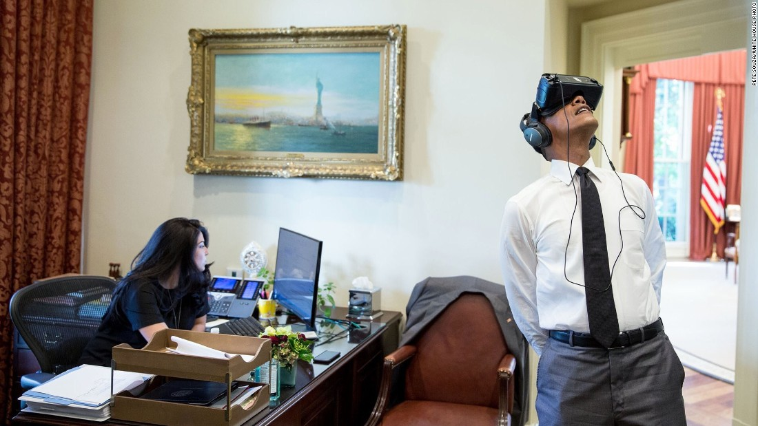 "President Barack Obama <a href=""https://www.whitehouse.gov/blog/2016/08/25/watch-join-president-obama-virtual-reality-tour-yosemite"" target=""_blank"">watches a virtual reality film</a>, captured during his trip to Yosemite National Park earlier this summer, at the White House on Wednesday, August 24. The National Park Service celebrated its 100th birthday on Thursday, August 25. <a href=""http://www.cnn.com/2016/08/24/travel/gallery/tbt-roger-minick-national-park-service/index.html"" target=""_blank"">See national park visitors since 1980</a>"