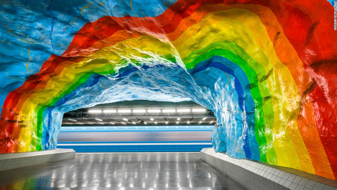 Stockholm's Tunnelbana metro system stretches 110 kilometers. Since the 1950s, more than 150 artists have left their signature imprints on its stations. Pictured: Stadion, Stockholm. <br />