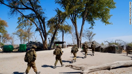 Botswana Defense Force troops patrol near the Linyanti.