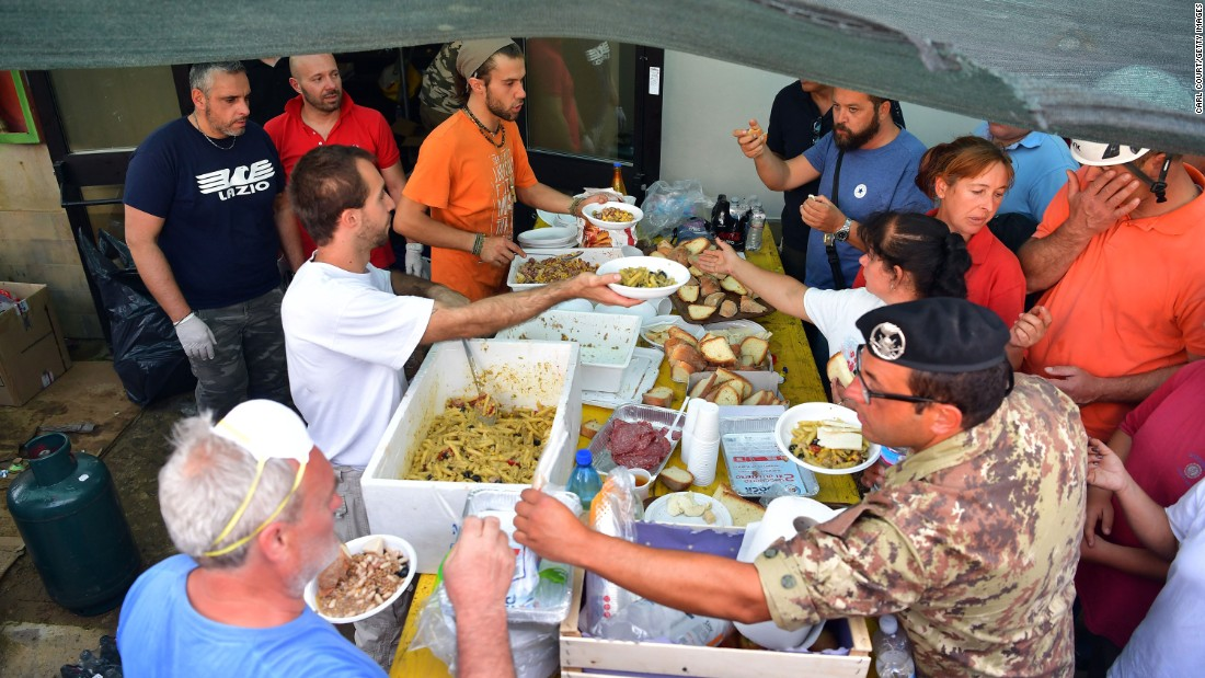 A field kitchen in Amatrice provides meals for emergency workers and earthquake survivors on August 25.