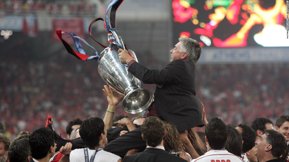Ancelotti will largely be remembered at Milan for the two Champions League titles he brought the club -- in 2003 and 2007. Here, he celebrates the latter success, as Milan beat Liverpool in Athens to gain revenge for the dramatic 2005 final against the same opponents.