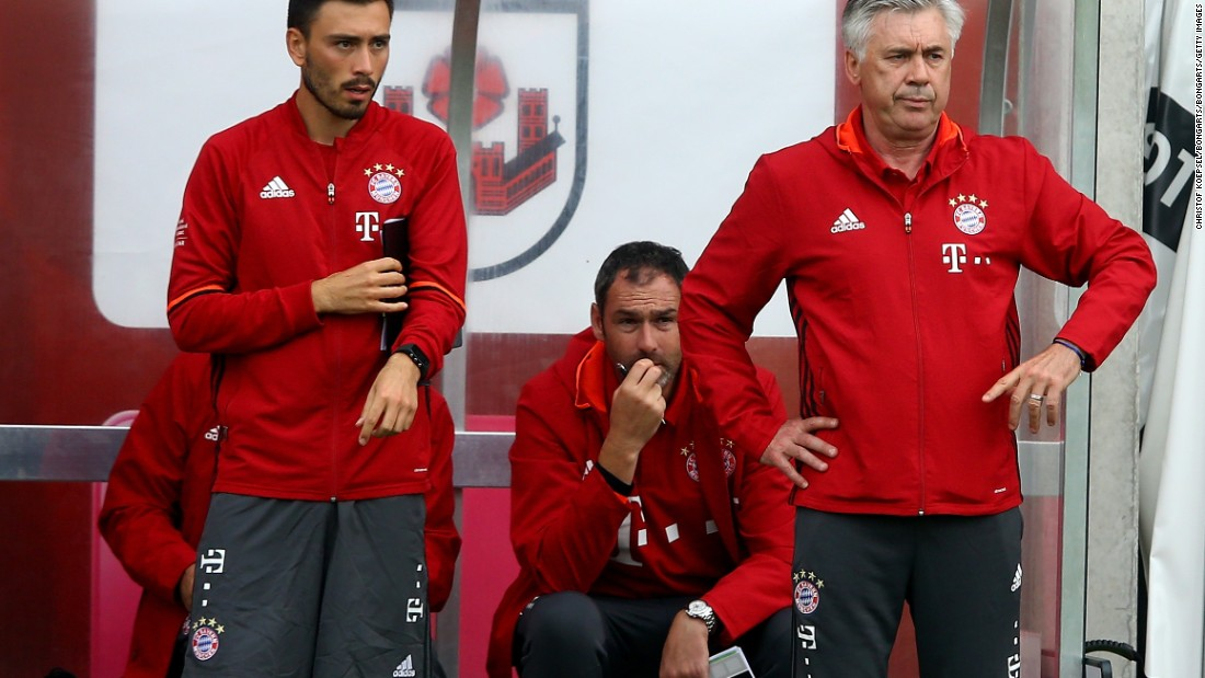 But Ancelotti's decision to appoint son Davide to his coaching staff has been criticized as nepotism in many quarters. Sitting on the bench behind them is Paul Clement, who Ancelotti has regularly worked with since first meeting the Englishman at Chelsea.