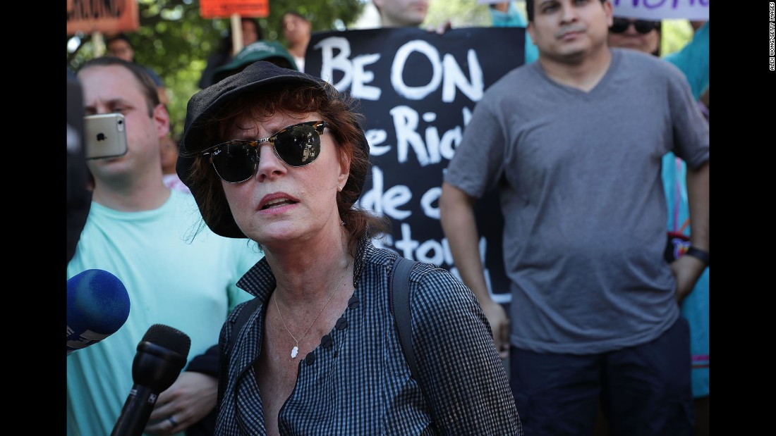 "Actress Susan Sarandon speaks to the media in Washington during a <a href=""http://www.cnn.com/2016/08/25/politics/shailene-woodley-bernie-sanders-dakota-access-pipeline/"" target=""_blank"">rally against the Dakota Access Pipeline</a> on Wednesday, August 24."