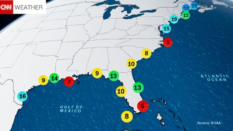 The estimated return period in years for hurricanes passing within 50 nautical miles of various locations on the East Coast.