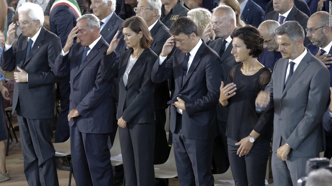 From left, Italian President Sergio Mattarella, Italian Senate President Pietro Grasso, Italian Lower Chamber President Laura Boldrini and Italian Prime Minister Matteo Renzi attend the funeral service.