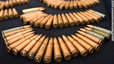 Assault rifle ammo seized to alleged members of the Sinaloa drug cartel are presented to the press at the Police Command Centre in Mexico City, on May 15, 2009. Members of the cartel were arrested in the state of Jalisco. AFP PHOTO/Ronaldo Schemidt (Photo credit should read Ronaldo Schemidt/AFP/Getty Images)